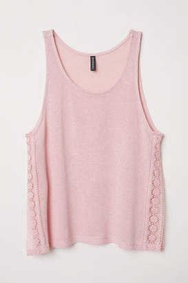 H&M Lace-trimmed Tank Top - Pink