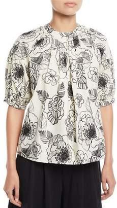 Co Crewneck Elbow-Sleeve Floral-Print Cotton Top