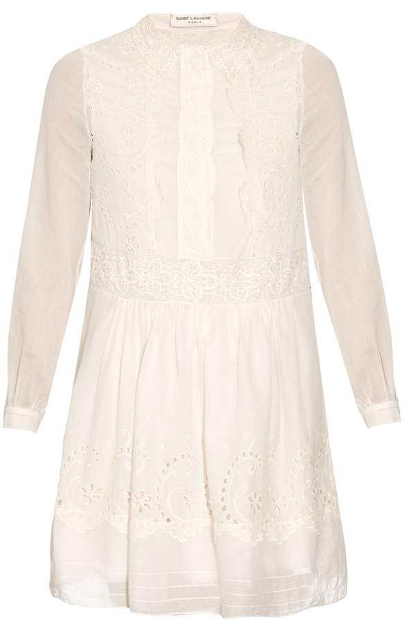 Saint Laurent SAINT LAURENT Folk broderie-anglaise dress