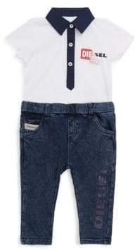 Diesel Baby's Two-Piece Contrast-Trim Bodysuit and Cotton Jeans Set