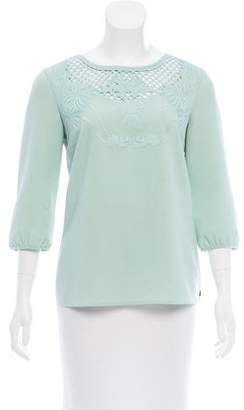 Maison Scotch Embroidered Three-Quarter Sleeve Blouse
