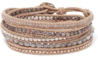 Chan Luu Leather And Rose Gold Plated Silverite Wrap Bracelet Beige