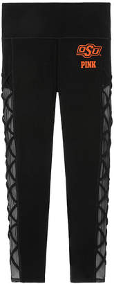PINK Oklahoma State University Cotton High Waist Lace-Up Mesh Ankle Legging