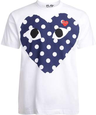 Comme des Garcons White T-shirt With Blue Polka Dot Heart