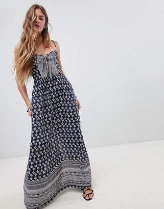 3c5de249bd Band of Gypsies Tie Front Maxi Dress in Border Print