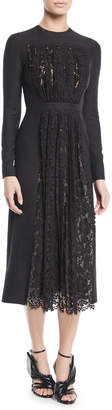Valentino Long-Sleeve Crepe Couture Dress w/ Lace Pleated Panel