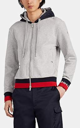 Moncler Men's Stripe-Trimmed Cotton French Terry Hoodie - Gray