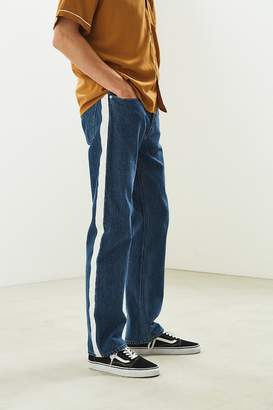 Calvin Klein High Taped Blue + White Straight Jean