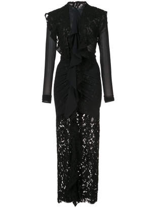 Long Sleeve Corded Lace Dress - Black - Size US4
