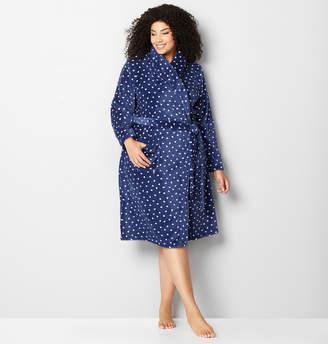 Avenue Heart Print Plush Robe