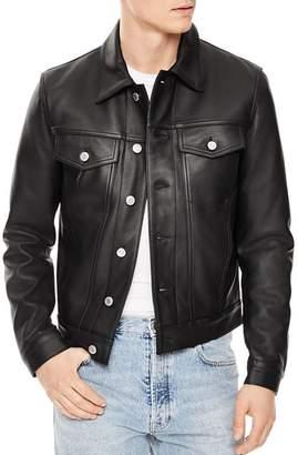 Sandro Trucker Leather Jacket