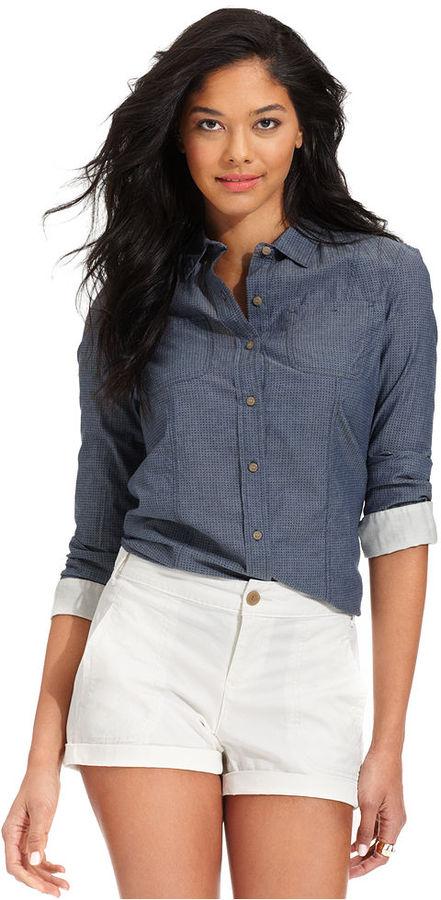 Calvin Klein Jeans Petite Shirt, Long-Sleeve Denim Printed