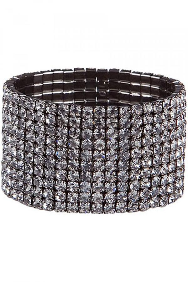 Kenneth Jay Lane Dark Crystal 10Row Stretch Cuff