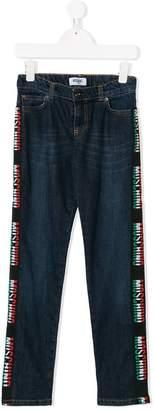 Moschino Kids logo stripe jeans