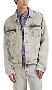 Martine Rose Men's Acid-Wash Denim Oversized Trucker Jacket - Light Gray