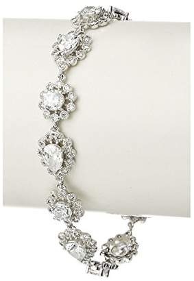 Kenneth Jay Lane CZ by Rhodium 15 Cttw Vintage Mill Grain Floral Bracelet