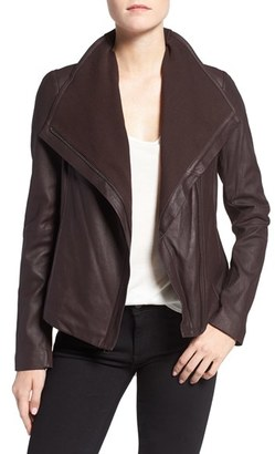 Tahari Andreas Knit Trim Collar Leather Jacket $378 thestylecure.com