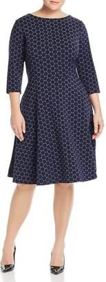 Leota Plus Circle Print Fit-and-Flare Dress