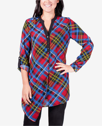 NY Collection Asymmetrical Plaid Shirt