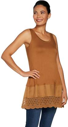Logo By Lori Goldstein LOGO Layers by Lori Goldstein Solid Tank with Woven and Lace Bottom Band