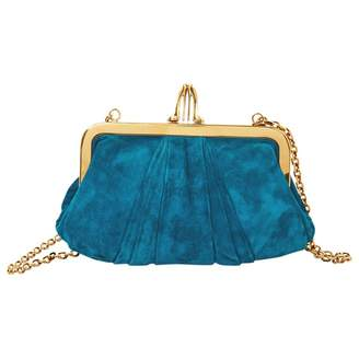 Christian Louboutin Blue Suede Clutch Bag
