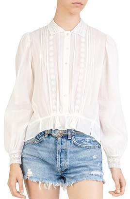 The Kooples Lace & Embroidery Detail Top