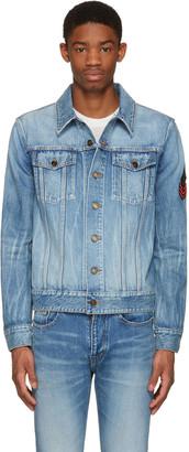 Saint Laurent Blue Denim Military Patch Jacket $1,250 thestylecure.com
