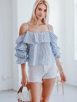 Goodnight Macaroon 'Bailee' Striped Puffy Sleeve Cold Shoulder Top