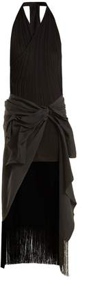 Draped asymmetric stretch-knit and crepe dress
