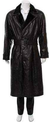 Couture Bernini Fur-Trimmed Leather Coat