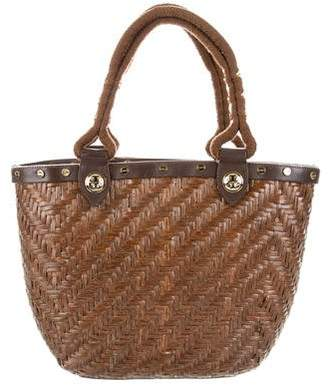 Tory Burch Leather-Trimmed Wicker Tote