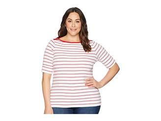 Lauren Ralph Lauren Plus Size Striped Cotton Elbow Sleeve Top