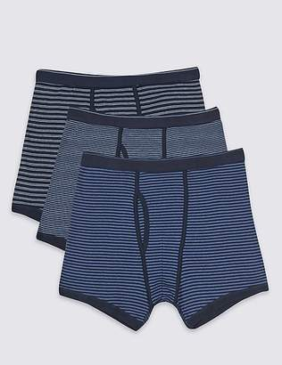 Marks and Spencer 3 Pack Pure Cotton Striped Trunks