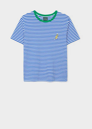 Paul Smith Women's Blue And White Stripe Embroidered 'Dino' T-Shirt