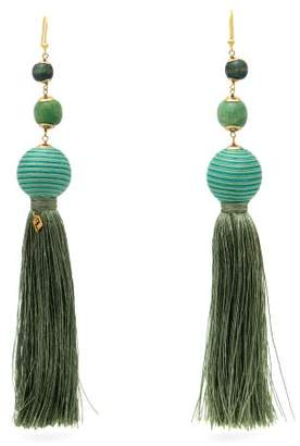 Rosantica By Michela Panero - Colonia Bead Embellished Tassel Earrings - Womens - Green