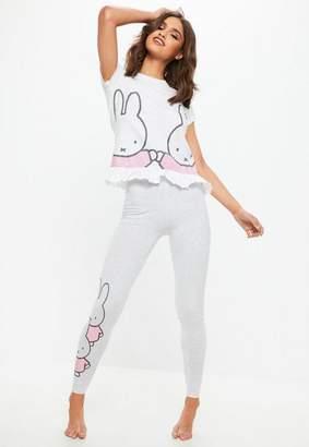 Missguided Gray Miffy Frill Hem Leggings Pajamas Set