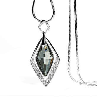 Black Diamond DuoTang Silver Pendant Crystal Long Necklace Gifts for Women crystal)