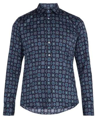 Etro Geometric Print Cotton Shirt - Mens - Blue