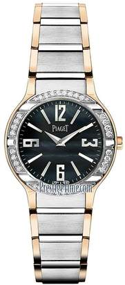 Piaget Polo Women's Black Dial White And Rose Gold Diamond Swiss Made Watch G0A36232