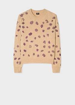 Women's Tan Embroidered 'Cheetah' Motif Wool-Blend Sweater