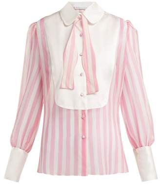 Edeltrud Hofmann - Jolly Striped Silk Crepe De Chine Blouse - Womens - Pink White