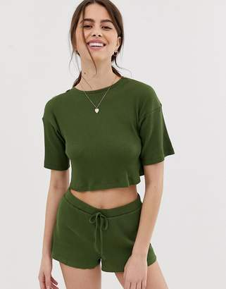 Asos Design DESIGN mix & match ribbed slouchy tee with tortoishell buttons