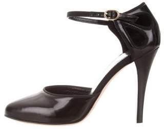 Vanessa Seward Patent Leather Ankle Strap Pumps
