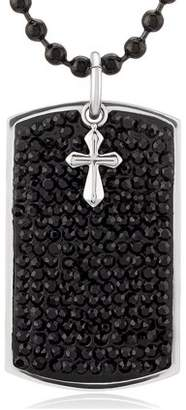 West Coast Jewelry Crucible Stainless Steel Black Crystals with Cross Charm Dog Tag Pendant