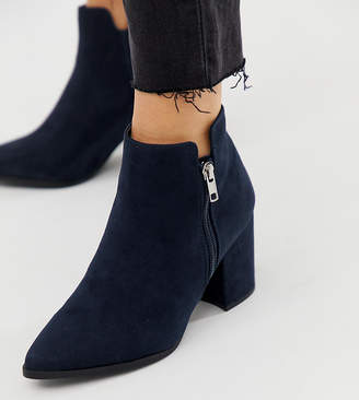 0bef4c5fcaa1d New Look wide fit PU pointed heeled boot in navy