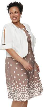 Plus Size Maya Brooke Polka Dot Sleeveless Dress & Jacket Set