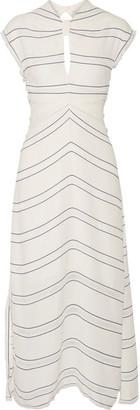Proenza Schouler - Tie-back Cutout Striped Crepe Midi Dress - Ivory $1,765 thestylecure.com