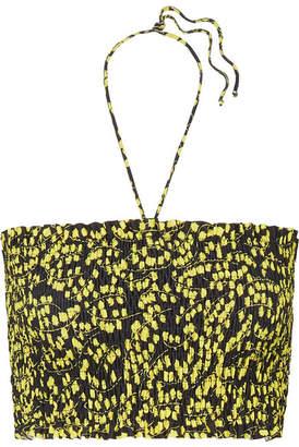 Ganni Caradonna Shirred Floral-print Bikini Top - Black