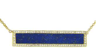Jennifer Meyer Diamond Lapis Inlay Bar Pendant Necklace - Yellow Gold