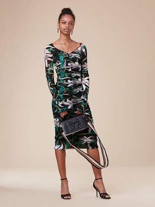 Diane von Furstenberg Camille V-Neck Mesh Ruched Dress